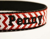 """Personalized Dog Collar - Red Chevron - Pets - Made to order - 5/8""""-3/4"""" wide"""