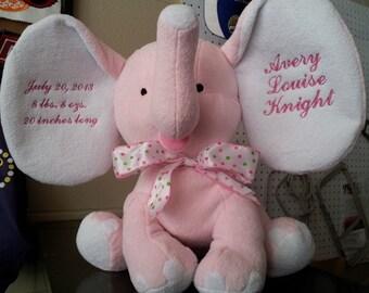 PERSONALIZED Plush Elephant Baby Gift