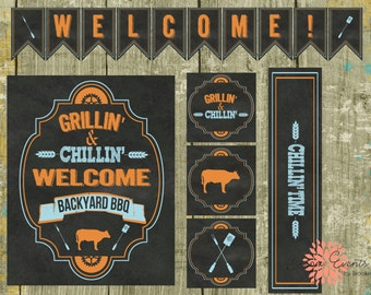 Chillin' & Grillin' Backyard BBQ Party Printable's - INSTANT DOWNLOAD