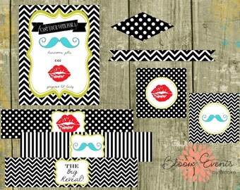Gender Reveal Party - INSTANT DOWNLOAD Printable Party Collection (Red, Blue, Green, Black and White) - Mustache Lips