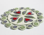 PDF Hearts Desire Penny Rug Pattern felt valentine green purple white candle mat canteam ofg instant download Arlene MacAusland design
