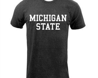 UGP - Michigan State Block Triblend - Unisex T Shirt - Tri Black