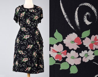 40s Dress Black 1940s Rayon Dress Floral Dress Short Sleeve Summer Dress Vintage 40s Dress Mid Century Rayon Dress Plus Size XXL 2XL