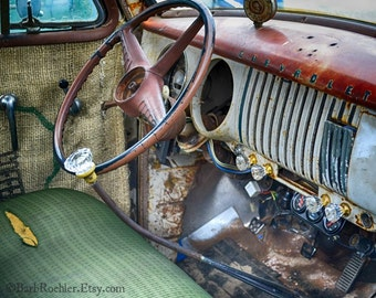 1954 (I think) Chevy Truck Interior - Vintage Chevy Truck - Rustic Wall Art - 8x10 Prints - Retro Print - Vintage Truck - Rust - Garage Art