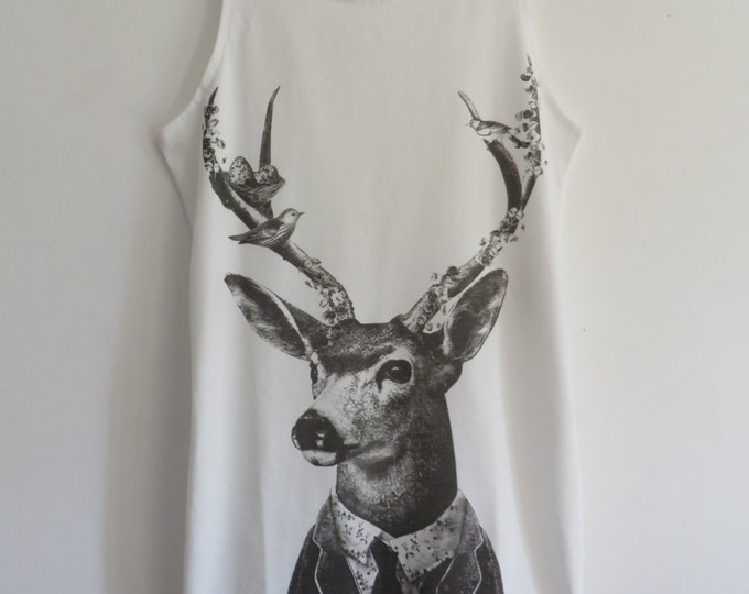 George The Dapper Stag & Nesting Friends Vest Top / Dress - Size 10-12 - White - T-Shirt Animal Quirky Vintage Kitsch Birds Kawaii Gentleman