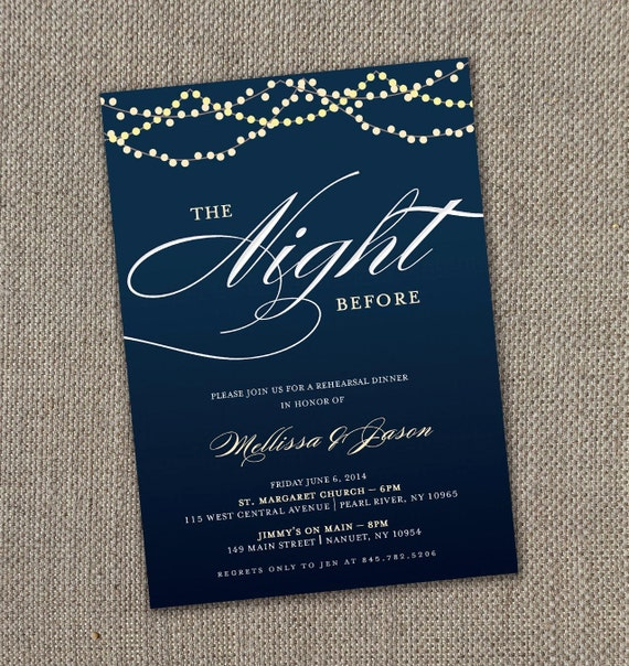 Pre Wedding Dinner Invitation: Starry Night Rehearsal Dinner Invitation 5 X 7 By