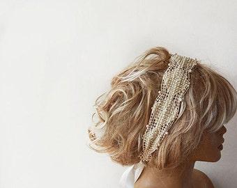 Pearl Headband, Bridal  Pearl Headband , Lace ivory Pearl,  Wedding Head Piece,  Bridal Hair Accessory, Vintage Style, wedding accessory