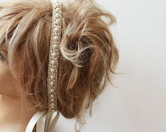 Bridal Pearl Headband, Lace İvory Pearl Head Piece,   Wedding Bridal Hair Accessory, Vintage Style, wedding Hair  accessory