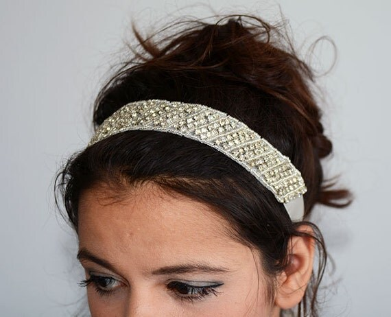 Wedding Hair With Rhinestone Headband : Wedding headband bridal hair accessories
