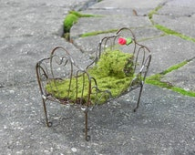 Fairy Bed miniature Furniture for fairy garden Day Bed with red polymer clay rose