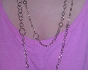 Vintage High Fashion Goldtone Double Necklace