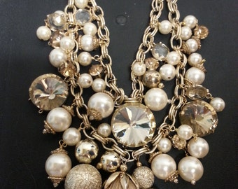 """Wyllian Original """"Champagne Bobbles"""" necklace with crystals, pearls and chain"""