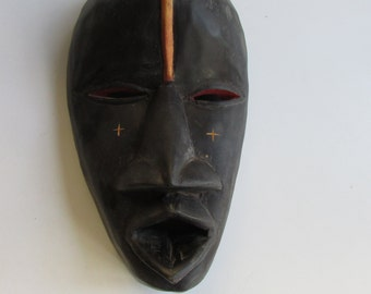 Carved Wood African Mask Ghana Wall Hanging