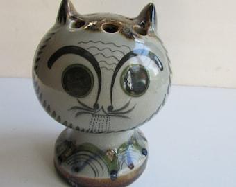 Vintage Ken Edwards Pottery Cat Mexico Flower Frog Vase