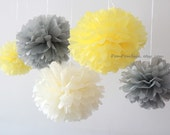 Yellow Gray Nursery - 10 Tissue Paper Pom Poms - Fast Shipping - also good for Wedding / Baby Shower / Birthday Party