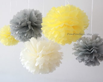 SALE - Yellow Gray Nursery - 10 Tissue Paper Pom Poms - Fast Shipping - also good for Wedding / Baby Shower / Birthday Party
