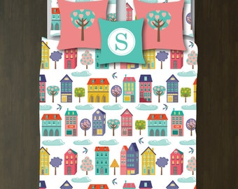 Neighborhood Bedding Set-Duvet Cover-Shams-Twin XL-Full/Queen-King-Bedroom-Bed-Kids Room-Girl-City-Village-Homes-Birds-Trees-Town-Houses