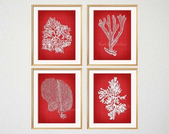 Red Coral, Red Sea Coral Print, Red Seaweed Print, Red Coral Art Print, Red Wall Art, Red Botanical Art, Red White Wall Art, Home Decor