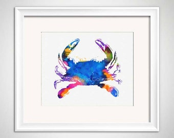 Blue Crab Art, Blue Crab Watercolor, Crab Print, Colorful Crab Illustration, Crab Art Print, Blue Crab Watercolor, Beach House Art