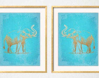 Chinoiserie Art, Turquoise Gold Wall Art, Turquoise Elephant Print, Elephant Wall Art, Chinoiserie, Elephant Art, Turquoise Elephant