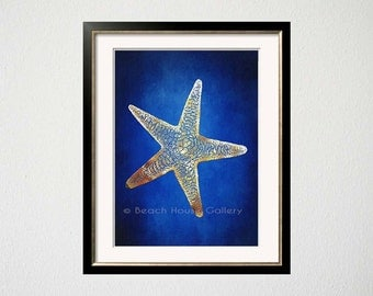 Blue Starfish Art, Indigo Blue Cobalt Gold Art, Starfish Wall Art, Blue Gold, Seastar Art, Nautical Art, Beach House Gallery, Starfish Art