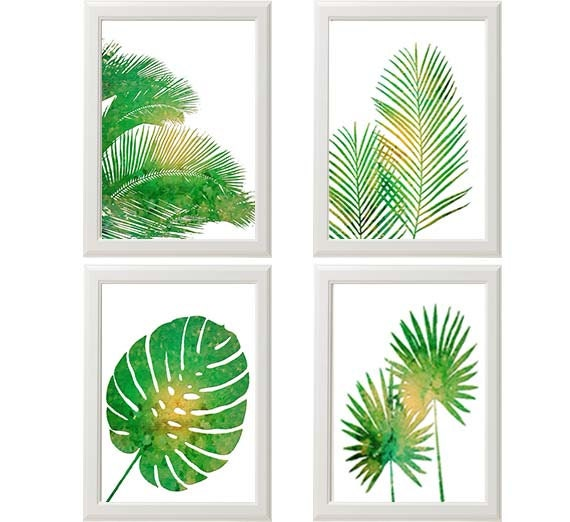 Green Wall Art tropical palm print set green wall art tropical wall art