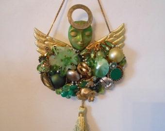 Mixed Media Angel, Costume Jewelry Art, Junk Jewelry Art, Jewelry Collage, Guardian Angel Wall,  Peridot Art,  Angel Wall Art, Angel Decor