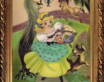 CINDERELLA ART,Cindy At Play, Vintage Disney, Home Decor, Wall Decor, Buy 3 Get 1 Free