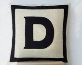 Personalized Monogram throw pillow- Burlap pillows- Black cushion cover -applique -initial pillow -Decorative throw pillows- 16x16 pillow
