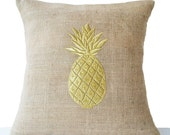 Burlap Pillow Covers with Pineapple Embroidered- Gold Pillows- Pineapple Pillows- 14x14- Modern Decor- Chair Pillow- Couch Pillows- Cushions