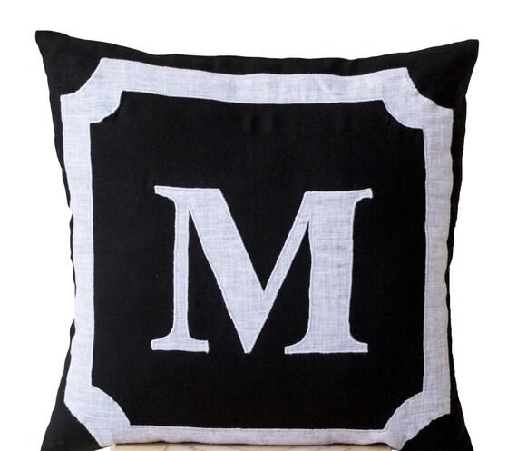 Monogram A Pillow: Personalized Monogram Throw Pillow Cotton Pillows Black