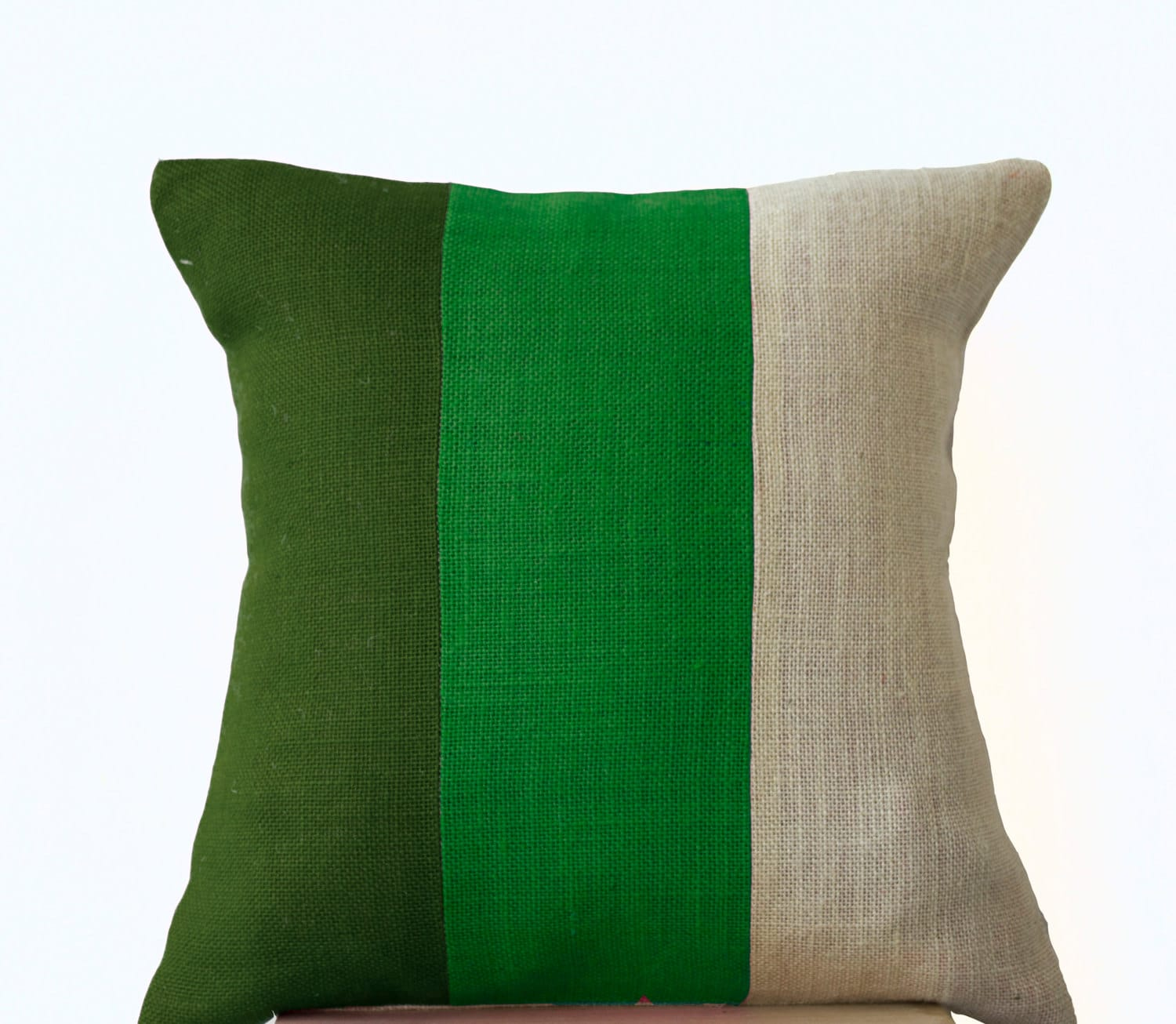 Burlap Throw Pillows Etsy : Chic Green Burlap Pillow Throw Pillows color block by AmoreBeaute