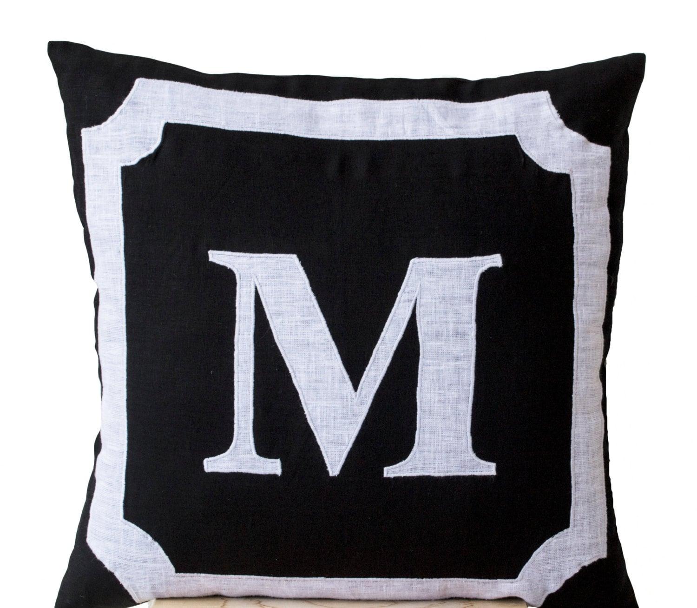 Linen Monogram Throw Pillow: Personalized Monogram Throw Pillow Cotton Pillows Black