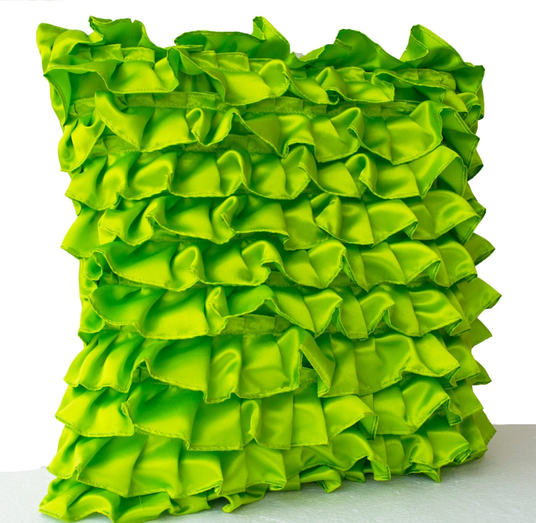 Green Ruffle Throw Pillow : Clover Green Pillow Green Satin Ruffle Throw Pillow Ruffle