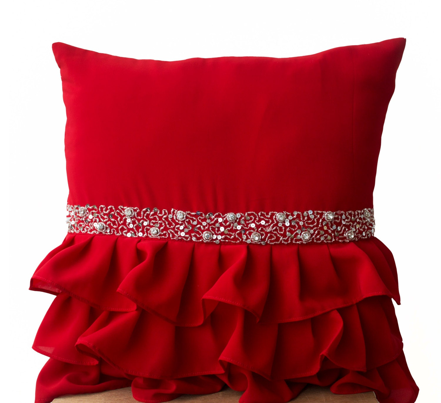 Elegant Red Ruffled Sequin Throw Pillow 16x16 Decorative