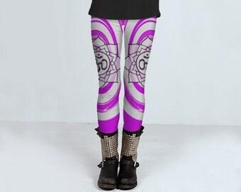 Aum purple twirl Yoga or Gym Leggings size XS - XL
