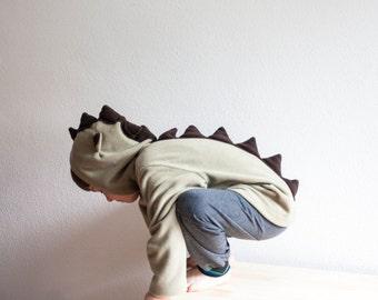 Dinosaur Hoody, Dragon Spike Hoody, Green Beige and Brown Polar Hoody, Olive Jacket, Zip Hooded Top, Girls Hoody