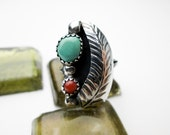 Signed Moore 1950s Ring, Native American Navajo, Genuine Turquoise & Coral, Sterling Silver Setting, Southwestern USA.