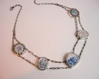 1920s Chinese Necklace,1800s Qing Dynasty Famille Rose Porcelain Tiles Set in Sterling Silver, Chain Restored,Tampico Studio S.F. USA.