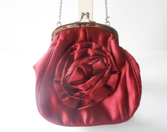 Red Evening Bag, Red Purse, Vintage Purse, Red Handbag, Gorgeous Red Bag, Evening Wear, Taffeta Bag - EB-0246