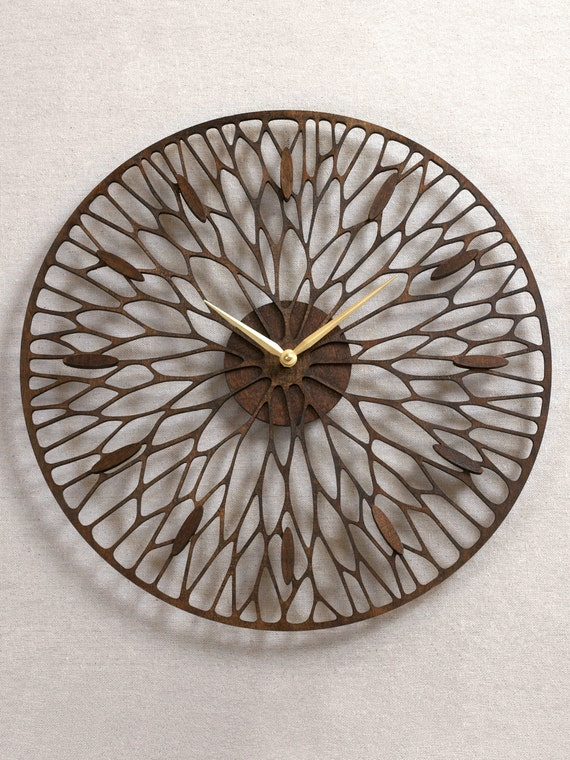 Wandering Clock Plus. Modern Minimal Laser Cut Wood Wall Clock.