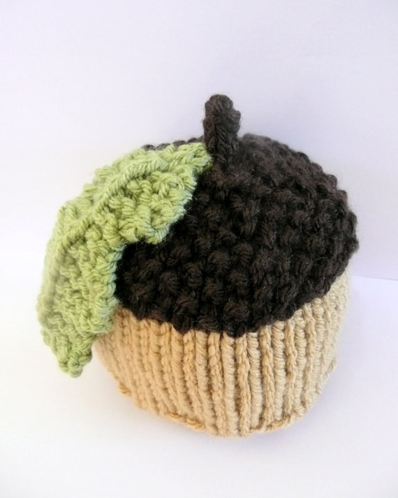 Knitting Pattern For Acorn Hat : Items similar to Knitted acorn baby hat - autumn fall ...