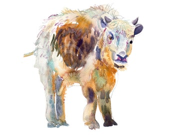 Childrens Art - Animal Painting - Size 8x10inches  - Watercolor Painting - Nursery Art Print-  Baby Yak