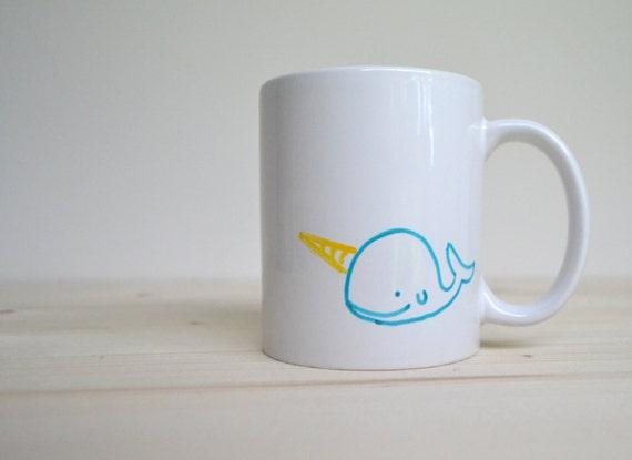 Narwhal Mug - Aqua and Yellow Hand Painted Narwhal on a White Coffee Cup - Unicorn of the Sea Mug