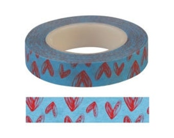 Red and Blue Heart  Washi / Masking Tape - 10 mm x 15 M