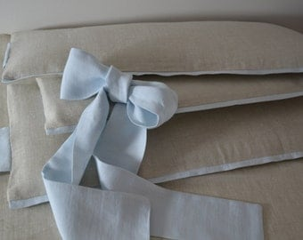 Linen Crib  bedding for boy -  4 side bumper, nursery bedding, boy nursery