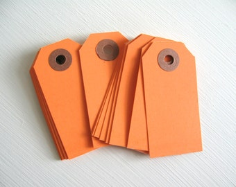 "SALE ~ 25 Small Orange Parcel Tags 2 3/4"" x 1 3/8"" 