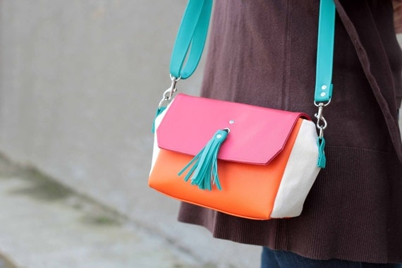 Four Color Vegan Leather Crossbody Bag / Purse / Strawberry Red Orange Cream Turquoise / Front Flap
