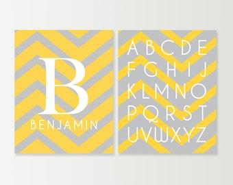 Yellow & Gray Nursery Art Prints SET - Baby Boy Nursery - Chevron Wall Art - Baby Monogram Prints - ABC Alphabet Decor - Custom Nursery Art