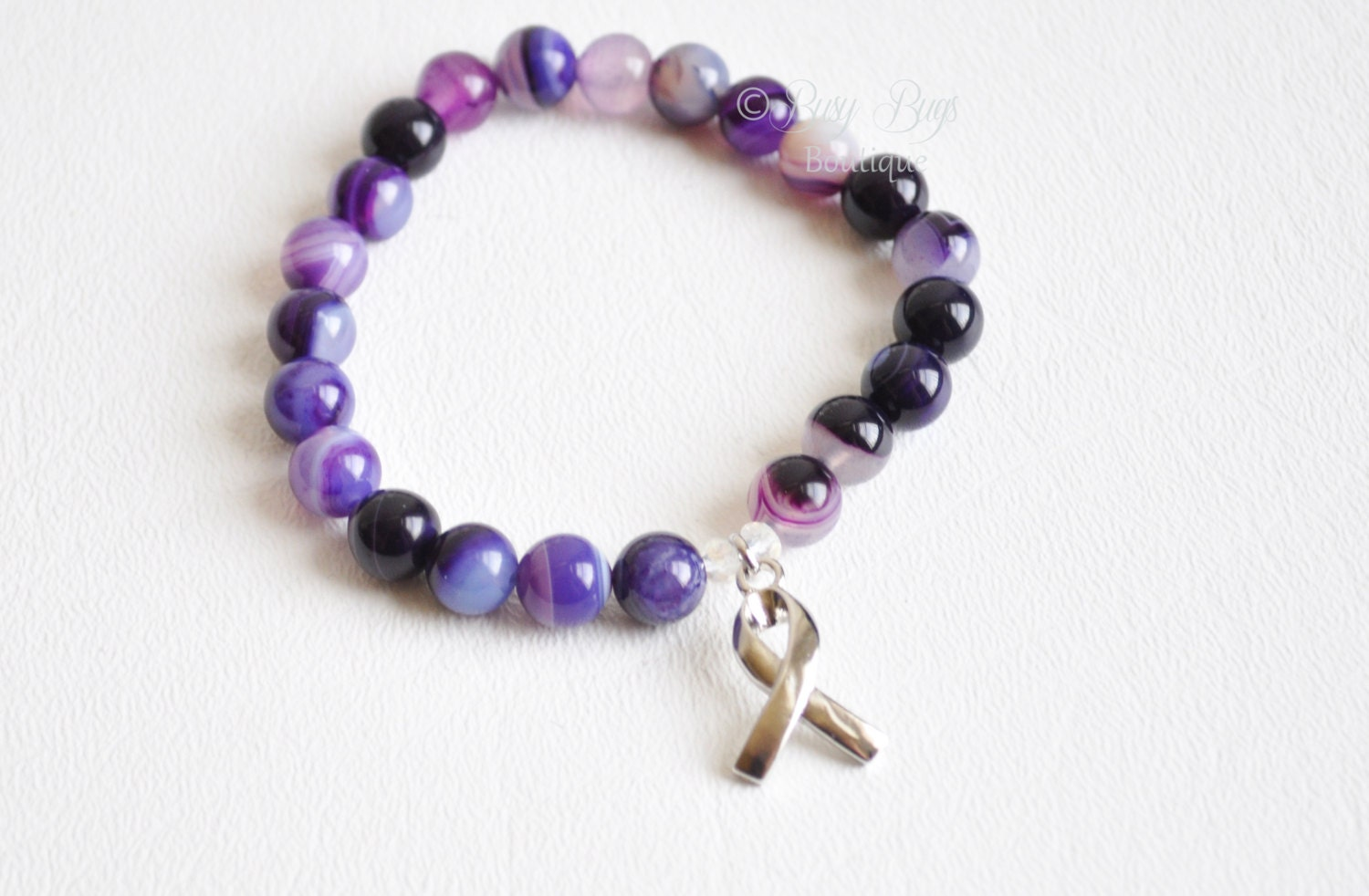 purple awareness bracelet purple ribbon by busybugsboutique